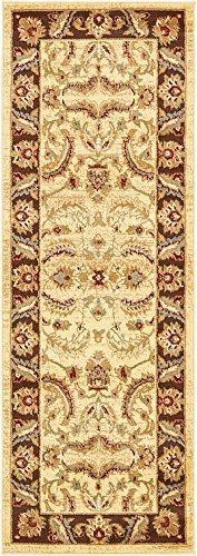 Unique Loom 3132985 Area Rug, 2' 2 x 6' Runner, Cream (Agra Collection)