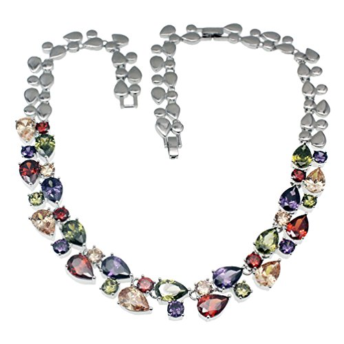 Vanessa Multi Gemstone Jewelry Sets for Women, Sparkling Garnet Amethyst Morganite Peridot Topaz Gifts for Her (Necklace)