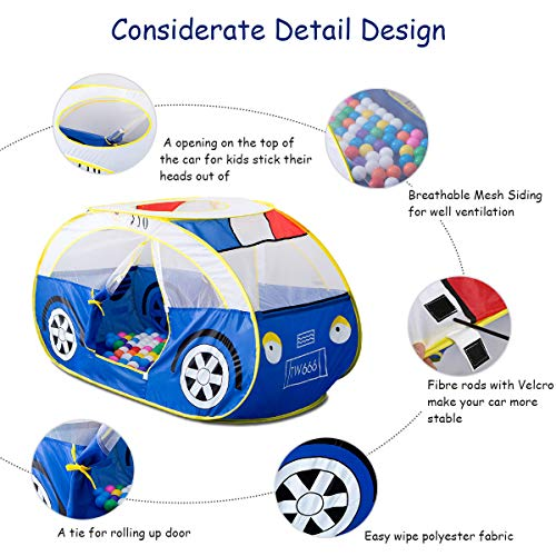 Artiron Police Car Play Tent, Indoor Outdoor Kids Vehicle Castle Pop up Tent Playhouse as Great Birthday Gift Toys 1-8 Years Old Toddlers Baby Boys Girls (Police Car) by Artiron (Image #1)