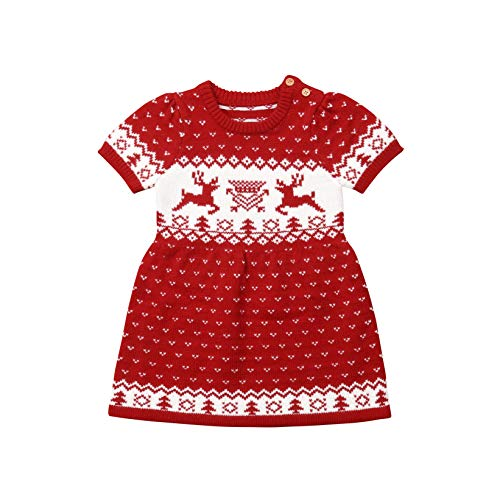 Infant Baby Kid Girls Christmas Clothes Elk Knitting Wool Sweater Dress Party Tutu Xmas Dress (6-12M, Red)