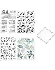 loraleo 5 Pack Alphabet Cake Stamp Tool, Cookie Embosser Stamp Including Numbers/Leaf/Uppercase Lowercase Letter for Fondant Biscuit Decoration, DIY Scrapbooking Crafting