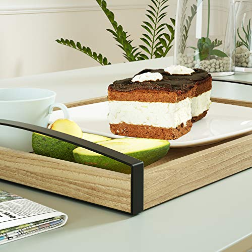 Love-KANKEI Wood Serving Tray with Metal Handle - Rectangle Breakfast Tray for Bed Ottoman Dinner Party 16 x 12 inch by Love-KANKEI (Image #2)
