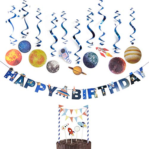 Solar System Birthday Party Supplies Outer Space Party Planet Hanging Swirl Decorations with Cake Toppers, 12 Pieces, Easy - Decoration Easy Cake