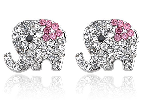 Alilang Silvery Tone Clear Crystal Colored Rhinestones Baby Elephant Stud Earrings (Colored Rhinestone Costume Jewelry)