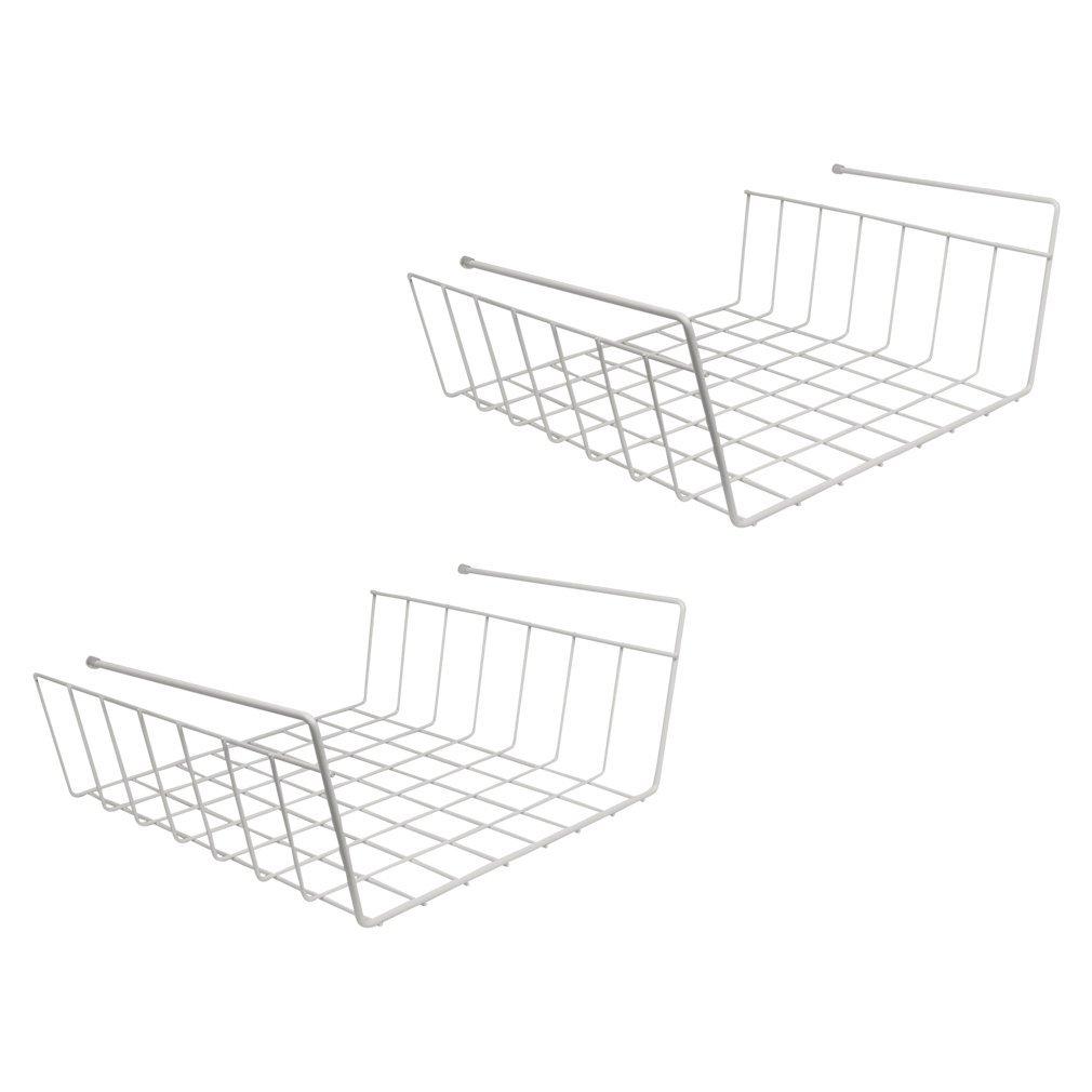 Evelots pack of 2 under shelf wire rack kitchen organizer for Under shelf basket wrap rack