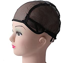 10Pcs Wig Cap Hairnet Adjustable Nylon Weaving Mesh Wig Caps With Lace Straps For Making Wig black 10PCS