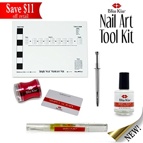 Bliss Kiss Stamping & Nail Art Tool Kit - Manicure Mat, Latex Peel Barrier, Cuticle Oil, Cotton Grabber, Silicone Stamper - Easy at home manicures with no mess!