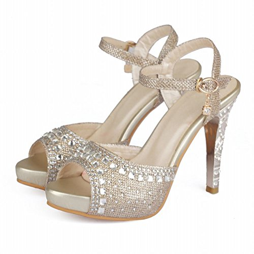 Kleid Frauen Charm High Gold Strass Heel Carolbar Sandalen Fashion qvR7FFY