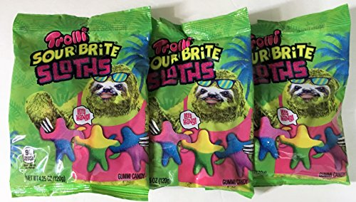 Trolli Sour Brite Sloths Sour Gummi Candy 4.25 Ounce Bag (Pack of 3) (Sloth Candy Shaped)