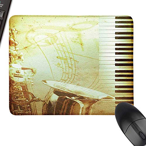(Music Thicken Mouse Pad Print of Piano Keys on Background with Musical Notes Image Nostalgia Jazz Theme with Stitched Edges 11.8