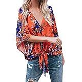 Womens Shirts Summer Print Half Sleeve Bandage Casual Tunic Tops Blouse T-Shirt for Ladies Teen Girls