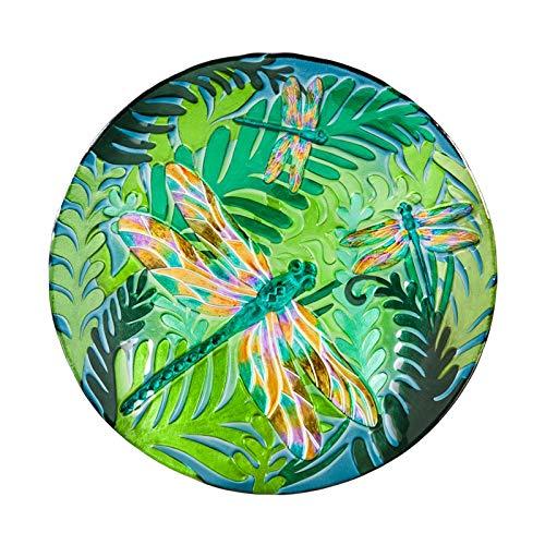 (Evergreen Garden Iridescent Dragonfly 18 inch Glass Bird Bath Bowl)