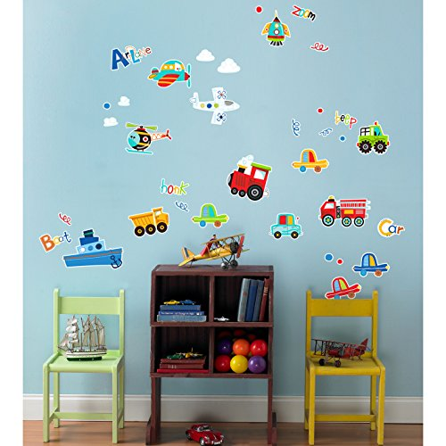 BirthdayExpress Transportation Room Decorations - Planes Trains Automobile Vinyl Wall Graphic Decal -
