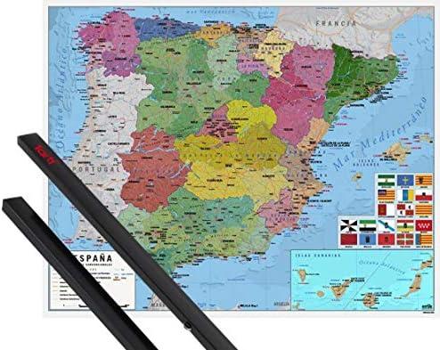 1art1 Mapas Póster Mini (50x40 cm) Mapa De España Y 1 Lote De 2 Varillas Negras: Amazon.es: Hogar