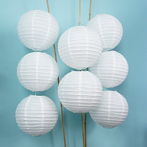 (Luna Bazaar Paper Lanterns (8-Inch, Parallel Style Ribbed, White, Set of 8) - Rice Paper Chinese/Japanese Hanging Decorations - For Home Decor, Parties, and Weddings)