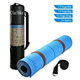 Cheap OlarHike Eco Friendly TPE Yoga Mat for Exercise, Pilates, Fitness & Workout with Carry Bag and Strap. Body Alignment System, 72″x 24″ Thickness 6mm, Blue and Brown