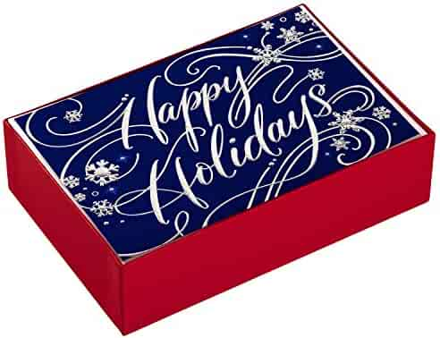 Hallmark Holiday Boxed Cards, Happy Holidays (40 Cards with Envelopes)