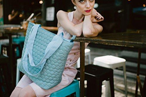 Tote Bag, Vegan Light Blue Shoulder Side Bag, Waterproof Faux Leather Fabric Handbag, Handmade Designer , Arrives with a Bag Charm ()