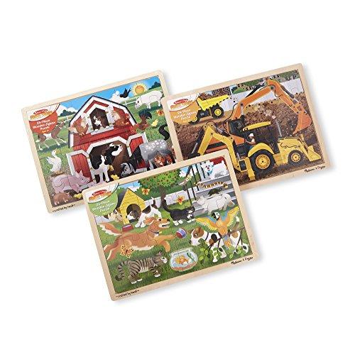- Melissa & Doug Wooden Jigsaw Puzzle arm, Construction, Pets Puzzle (24 Piece)