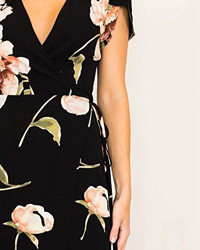 Col Longue Chic Fleur AnyuB Noir Manches Dcontracte V De Courtes Maxi Plage Femme Robe Robe H4xwxnEIg