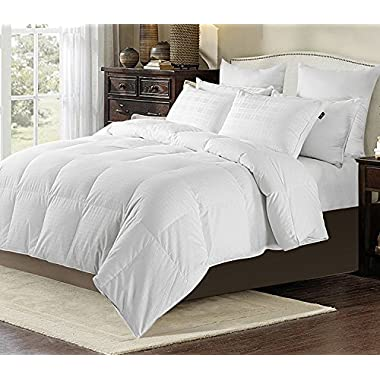 downluxe All Season White Down Comforter / Duvet Insert,600 Fill Power, 350 Thread Count 100% Egyptian Cotton Fabric, Full/Queen Size