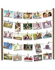 Uping Marco de Fotos de Pared de Madera   Con Cuerda y 30 Pinzas de Madera   66CM * 74CM   Decoración de la pared, idea del regalo, para foto dibujo memorándum cartel etc.
