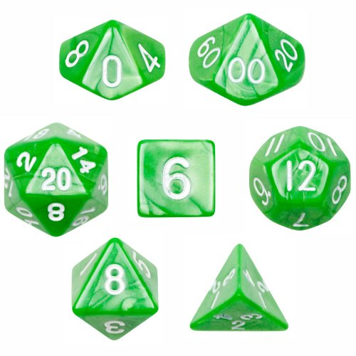 7 Die Polyhedral Dice Set - Imperial Gem (Marble Green) with Velvet Pouch By Wiz Dice (Gem Dice)