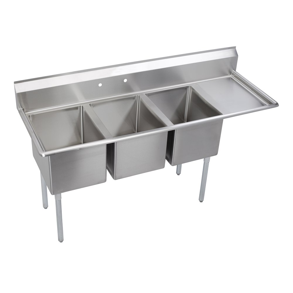 Elkay Foodservice 3 Compartment Sink, 72.5''X25.75'' OA, 36'' Working Height, 16X20 Bowl, 12 Deep, 9.75'' Backsplash, Right 18'' Drainboards, 8'' On Center Faucet Hole, Galvinized Legs, Adjustable Feet, 18 Gauge 300 Series Stainless Steel, NSF Certified by Elkay