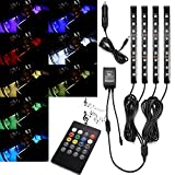 STYDDI Car Interior Lights, 4-Piece 8 Color DC 12V LED Interior Underdash Lighting Kit with Sound-active Function and Music Control