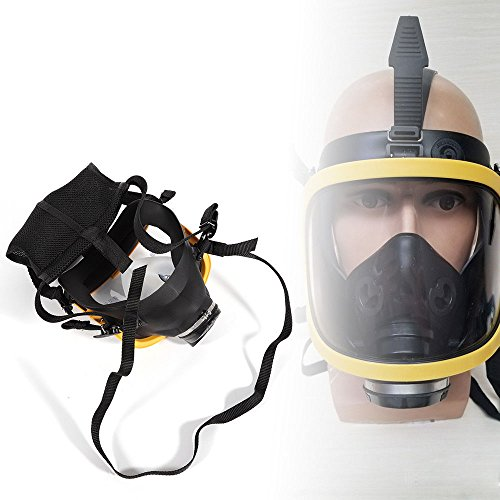 Electric Constant Flow Supplied Air Fed Full Face Gas Mask Respirator System yellow profession Fire masks basement Dangerous (Full Mask Supplied Air Respirator)