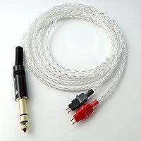 1.8m (6ft) 1/4 6.35mm DIY Hi-end Litz Braid 8 Cores 5n Pcocc Silver Plated Headphone Upgrade Cable for Sennheiser Hd580 Hd600 Hd650