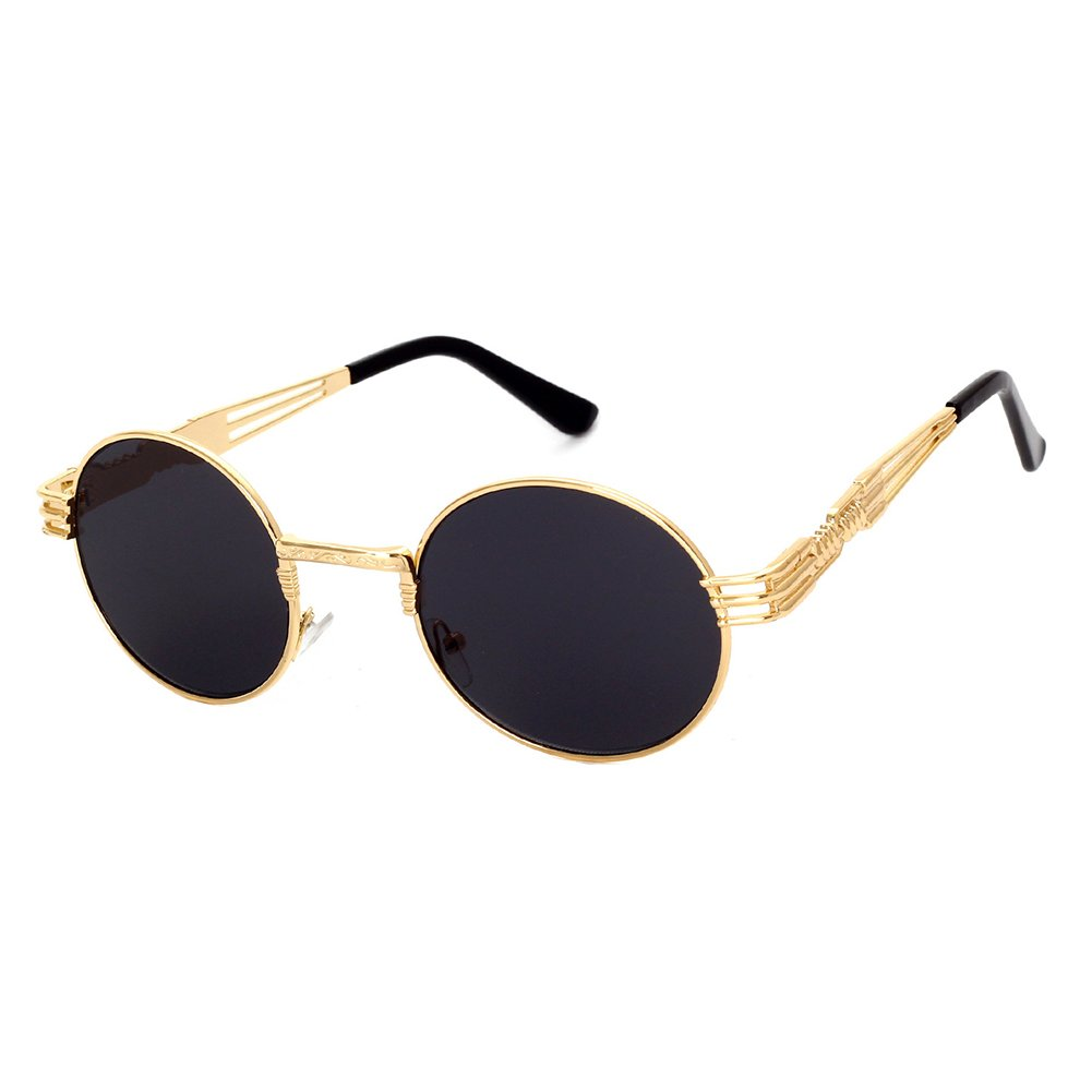 GAMT Retro Metal Hipster Steampunk Round Style Coating Mirrored Sunglasses Gold-grey
