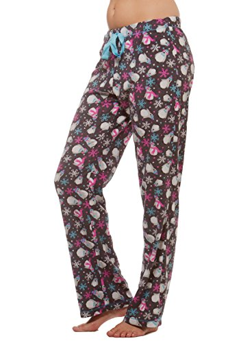 Warm Winter Fleece Lounge Pajama bottom pants -Snow Penguin-S (Pajama S)