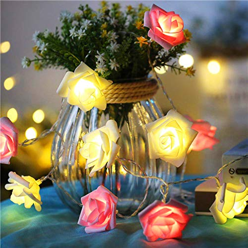 Rose Lights, Multicolor Rose Flower Fairy String Light, 10ft 20 LEDs Battery Operated Night Light with Remote Control for Kids Bedroom, Mirror, Walls, Windows, Wedding, Indoor Decoration, Christmas