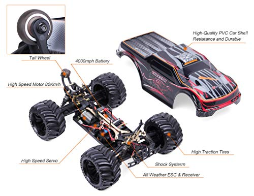 JLBRACINGRC Super Fast 1/10 Scale Cheetah RC Car, 80 KM/H 4WD 2.4GHZ RC Truck with 120A ESC IPX7 Waterproof 3670 2500KV Brushless Motor Wheelie Function 4x4 Off Road RTR RC Monster Truck for Adults by JLBRACINGRC (Image #5)