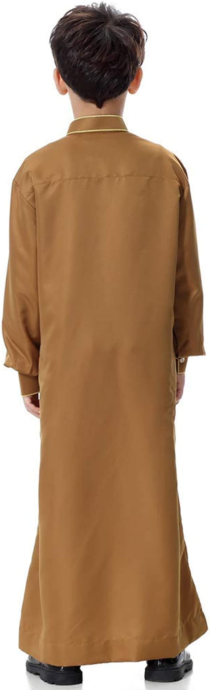 Wofupowga Mens Long-Sleeve Ethnic Style Muslim Abaya Pure Color Arab T-Shirts