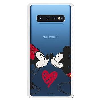 Carcasa Oficial de Disney Mickey Y Minnie Beso Clear para Samsung Galaxy S10 Plus - La Casa de Las Carcasas