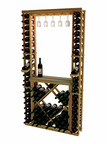 Individual Diamond Rack (Wine Cellar Innovations TR-UN-GRDIAMDSKIT-A3 Traditional Series Tasting Center Bundle Glass, Table Top, Individuals and Open Diamond Bin Wine Rack, Premium Redwood,)