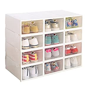 Clear Plastic 12 Pack Stackable Storage Shoe Box White