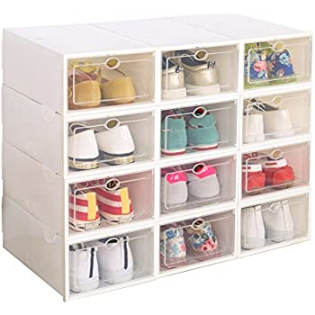Captivating Clear Plastic 12 Pack Stackable Storage Shoe Box White