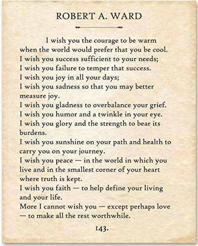 Robert Ward - I Wish You. - 11x14 Unframed Typography Book Page Print - Makes a Great Gift Under $15 for Book Lovers