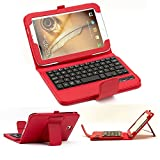 SUPERNIGHT Detachable Wireless Bluetooth ABS Keyboard PU Leather Stand Case Cover for Samsung Galaxy Note 8.0 N5100 N5110 Tablet .Color :Red