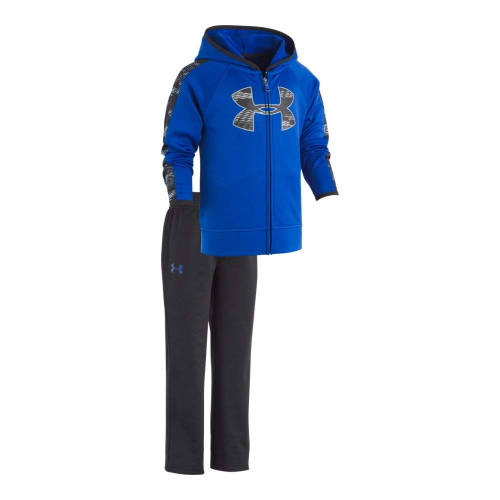 Under Armour Boys' Toddler Track Set with Hood, Royal Travel, 2T