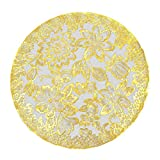 UINKE Elegant Floral PVC Insulation Placemat Round Decorative Table Mat for Home Bar Restaurant,Gold