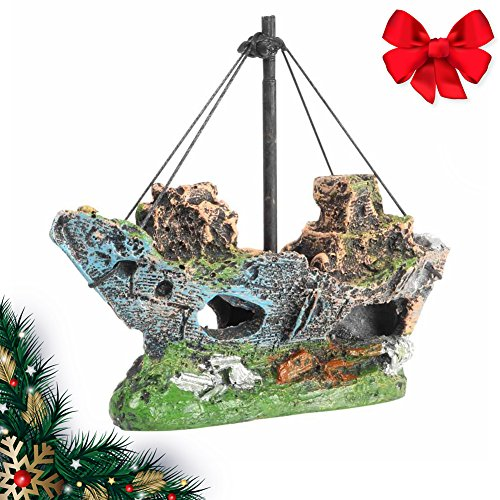 - Aquarium Decorations Shipwreck Ornament Fish Tank Accessories Fishing Boat Ruins Miniature Eco-Friendly Ship Ruins for Freshwater Saltwater Tanks Non-Toxic Resin Various Color