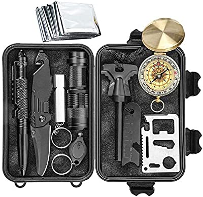 Survival Kit 11 in 1 - Gift for Men Father Husband Dad Mom Boy Boyfriend, Present for Birthday Valentines Day Graduation Christmas | SOS Emergency Tool - Outdoor Gear for Car Hiking Camping Climbing from Shggus