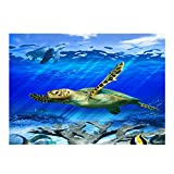 YOKOU Decorative Wallpaper Aquarium Background Fish Tank Backdrop Static Cling Wallpaper Sticker, Turtle 24''x11.8''