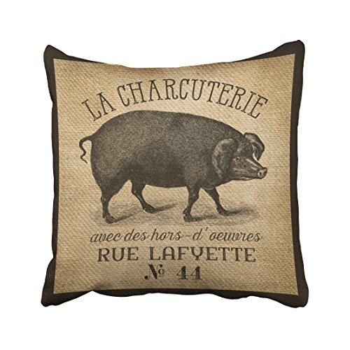 Shorping Zippered Pillow Covers Pillowcases 20X20 Inch la charcuterie pig vintage burlap french Decorative Throw Pillow Cover ,Pillow Cases Cushion Cover for Home Sofa Bedding