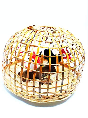 The Rooted Shop Bamboo Weave Chicken Coop Cage Wooden Handmade Collectible Miniature Figure Amulet Prosperity Gifts