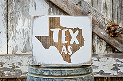 MINI Texas Rustic Wood Signs - Whitewash State Signs - Home State Decor - Personalized State Sign 6x7in